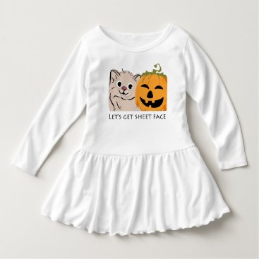 "Halloween Themed ""Let's get sheet face""cute cat and pumpkin laugh Dress"