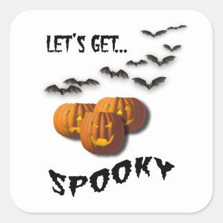 Let's Get Spooky! Bats/Pumpkins-Halloween Square Sticker