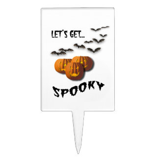 Let's Get Spooky!-Pumpkins and Bats Cake Topper
