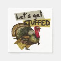 Let's get stuffed vintage thanksgiving dinner paper napkin
