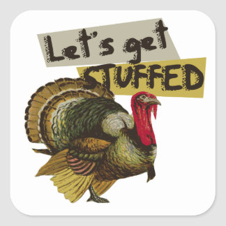 Let's get stuffed vintage thanksgiving dinner square sticker