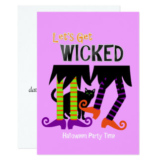 Lets Get Wicked Funny Witches Legs Halloween Theme Card