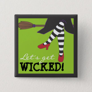 Let's Get Wicked! Witch on Broom Magnet Button