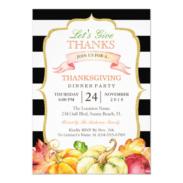 Let's Give Thanks Autumn Thanksgiving Dinner Party Card