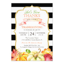 Let's Give Thanks Autumn Thanksgiving Dinner Party Invitation