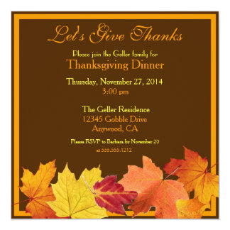 Let's Give Thanks Custom Thanksgiving Invitation
