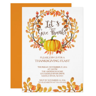 Let's Give Thanks PumpkinThanksgiving Dinner Card