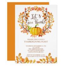 Let's Give Thanks PumpkinThanksgiving Dinner Invitation