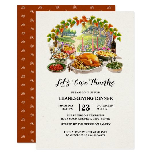 let s give thanks thanksgiving dinner invitations zazzle com