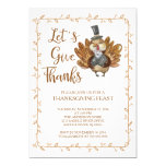 Let's Give Thanks Turkey Thanksgiving Party Card