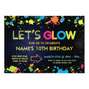 Lets Glow Birthday Party Invite Neon Kids