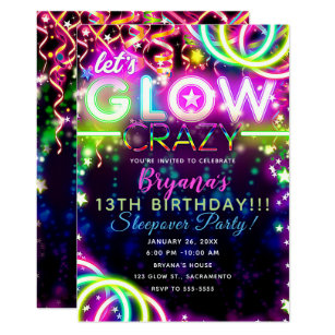 photo regarding Free Printable Glow Party Invitations titled Permits Shine Outrageous Neon Vibrant Birthday Social gathering Invitation