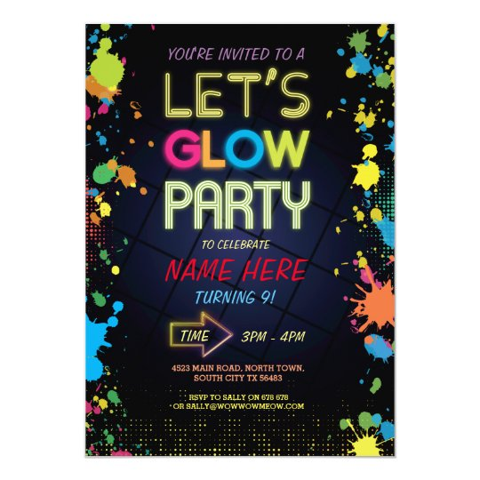 let u0026 39 s glow invite neon paint kids birthday party