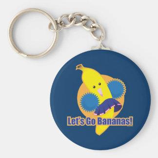 Let's Go Bananas! Basic Round Button Keychain