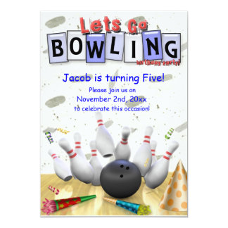 Let's Go  Bowling!  Birthday Party Invitation