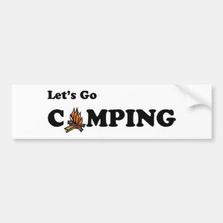 Let's Go Camping Camp Fire Bumper Sticker