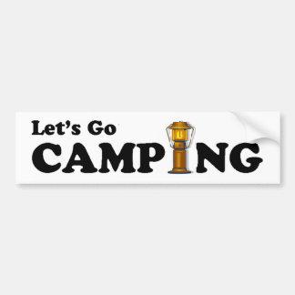 Let's Go Camping Lantern Bumper Sticker Car Bumper Sticker