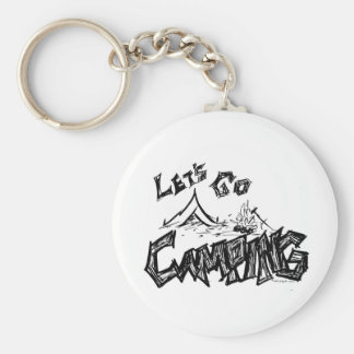 Let's Go Camping Outdoor Design Basic Round Button Keychain