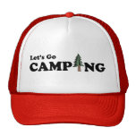 Let's Go Camping Pine Tree Cap Trucker Hat