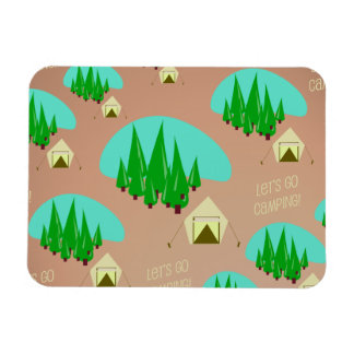 Let's Go Camping Retro Style Pattern Rectangular Photo Magnet