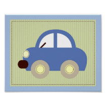 Let's Go Car Transportation Nursery Wall Art Print