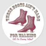 Let's Go Dancing Victorian Fancy Boots Classic Round Sticker