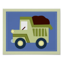 Let's Go Dump Truck Boys Nursery Wall Art Print