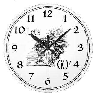 Let's Go!  Eager Pekingese Doggie Large Clock
