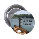 Let's Go Fishing Button: Rowboat on Lake Dock