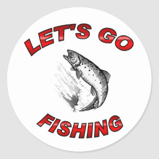 Lets go fishing classic round sticker