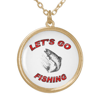 Lets go fishing gold plated necklace