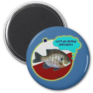 Let's Go Fishing Grandpa Fridge Magnet