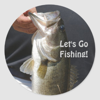 Let's Go Fishing, man holding bass Classic Round Sticker