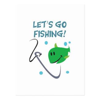 LETS GO FISHING POSTCARD