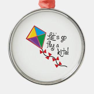Lets Go Fly a Kite Round Metal Christmas Ornament