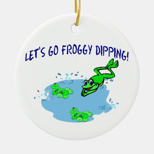 Let's Go Froggy Dipping Ceramic Ornament