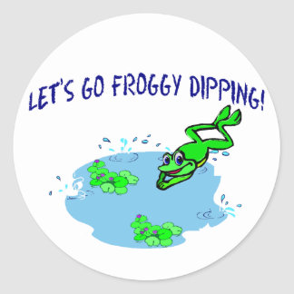 Let's Go Froggy Dipping Classic Round Sticker