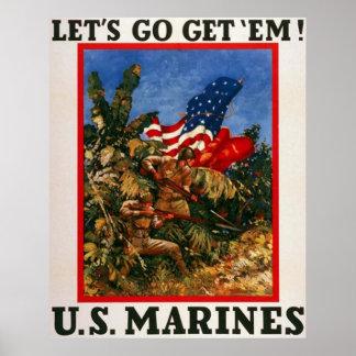 Let's Go Get 'Em - U.S. Marines Poster