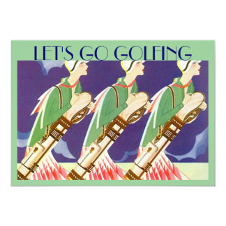 """LET'S GO GOLFING"" art deco style golf Invitations"
