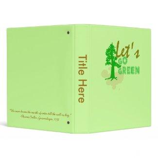 Let's Go green Binder binder