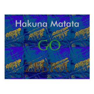 Lets Go Hakuna Matata Zebra Blue Tile Card