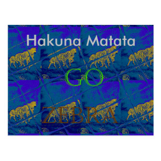 Lets Go Hakuna Matata Zebra Blue Tile Card Postcard