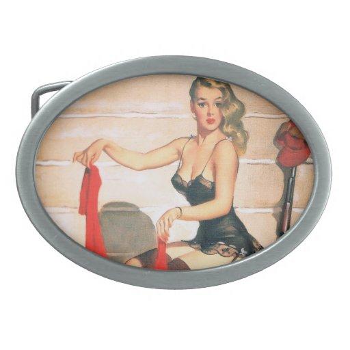 Let's Go Hunting - Vintage Pin-up Art Oval Belt Buckles