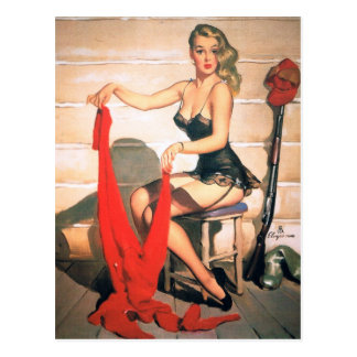 Let's Go Hunting - Vintage Pin-up Art Postcard