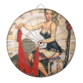 Let's Go Hunting - Vintage Pin Up Girl Dart Boards