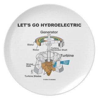 Let's Go Hydroelectric (Generator Turbine) Dinner Plate