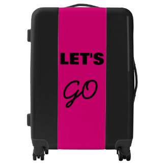Let's Go Pink And Black Design2 Simple Typography Luggage