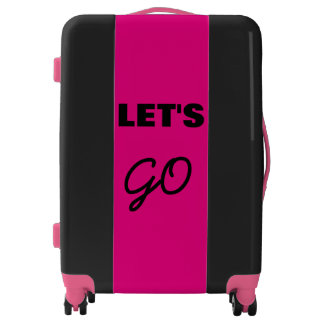 Let's Go Pink And Black Simple Typography Cool Luggage