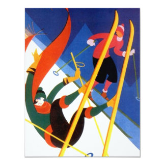 """LET'S GO SKIING"" art deco style skiing Invitation"