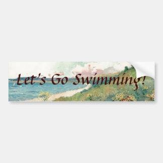 Let's Go Swimming! Bumper Sticker Car Bumper Sticker